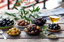Assortment Of Fresh Olives On ...