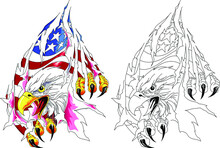 American Eagle With Usa Flag In Claws. Vector Illustration  In Tatto Style.