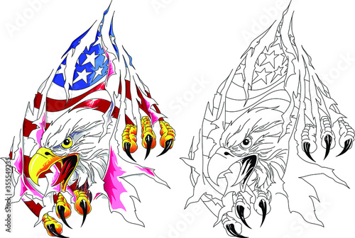 American eagle with usa flag in claws Fototapet