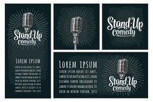 Microphone. Lettered Text Stan...