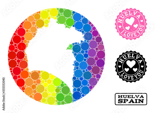 Rainbow Mosaic Hole Round Map of Huelva Province and Love Rubber Stamp for LGBT