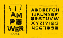 Grunge Scratch Type Font, Vintage Typography. Punk Style Textured Font And Alphabet.