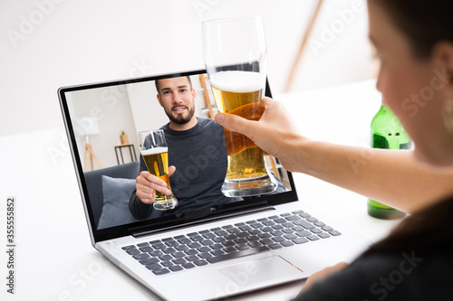 Online Virtual Beer Drinking Party Canvas