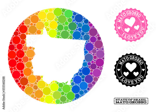 Valokuva Spectrum Mosaic Stencil Circle Map of Mato Grosso State and Love Rubber Seal for