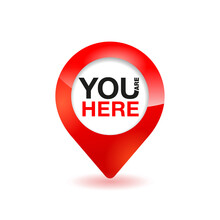 You Are Here Pin - Geo GPS Location Marker For Ground Plan, Online Maps - Isolated Vector Icon