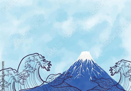 Photo 富士と海:年賀状 水彩 富士山 海 波 自然 浮世絵
