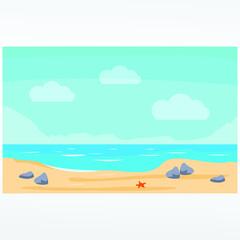 Fototapeta na wymiar Tropical beach vector illustration background. Beach vector in landscape.