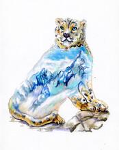 Watercolor Illustration. Of A Snow Leopard. Inside The Snow Leopard A Mountain Landscape. Nature. Polar Animal. Arctic Wildlife.