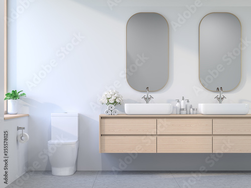 Fototapeta Minimal comtemporary style bathroom 3d render, The room has white walls and concrete tile floors decorated with wooden cabinets and golden glass frames. The sunlight enters the room. obraz