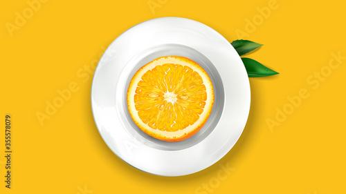 Fototapeta Half an orange on a white plate. obraz
