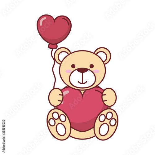 Teddy bear with heart balloon vector design #355585032