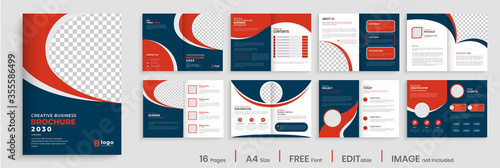 Cuadros en Lienzo Brochure template layout design, creative business profile template layout, 16 pages, annual report, minimal, multipage brochure design