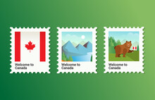 Vector Illustration Set Of Stamp Postage Of Canada Flag Mountain And Bear