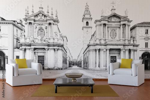 Salotto con muro di fondo che rappresenta piazza San Carlo, Torino..