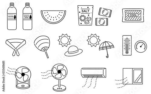 Obraz na plátně 手描き風の熱中症対策セット 線画