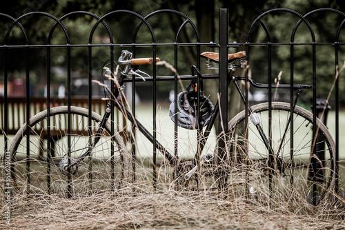 bicicletta legata ad un cancello per non essere rubata Slika na platnu