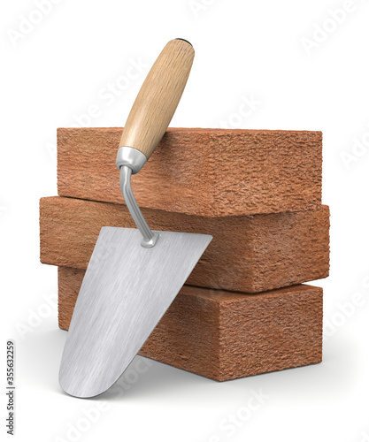 Fotografía 3d illustration bricks with trowel over white background