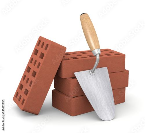 Fotomural 3d illustration bricks with trowel over white background