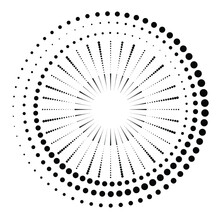 Radial Halftone Dots In Circle Form For Comic Books . Fireworks Explosion Background . Vector Illustration . Starburst  Round Logo . Circular Design Element . Abstract Geometric Star Rays . Sunburst .
