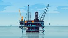 Detailed Oil Platform Rig With...