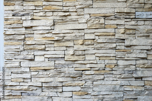 Cuadros en Lienzo Stacked slabs walls stone textures, Stone wall cladding panels white