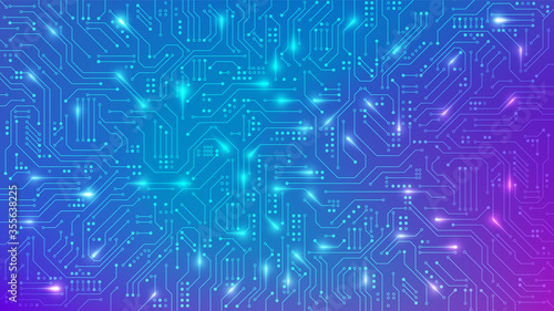 Obraz Color Circuit board texture for banner. Abstract technology background. Electronic motherboard connection lines and signals. Vector illustration - fototapety do salonu