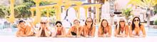 Group Of Happy Women Enjoy Tog...