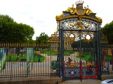 Europe, France, New Aquitaine, Gironde, City Of Bordeaux, Iron Gate With Gilding Of A Park