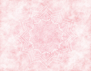 Panel Szklany Podświetlane Do pokoju Rosy mandala mystic abstract background in light pink color. With an scratched, faded, foggy effect.