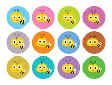 Cute Honey Bee Mascot Character Design Vector