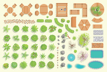 Set Of Park Elements. (Top View) Collection For Landscape Design, Plan, Maps. (View From Above)