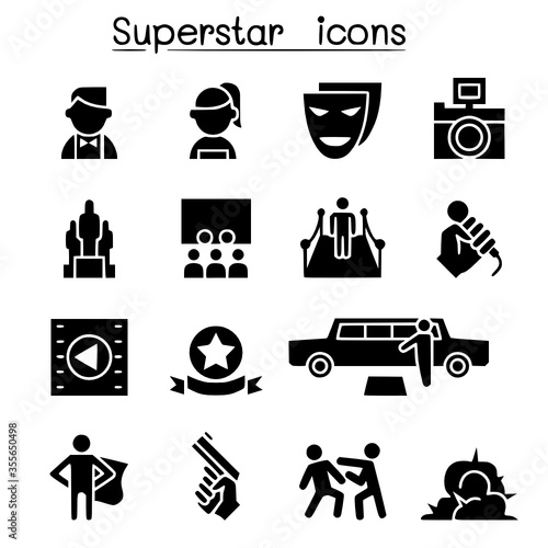 Actor actress celebrity super star icon set vectorset collection of modern styl Canvas Print