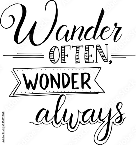 wander often wonder always inspirational quotes and motivational typography art Canvas Print