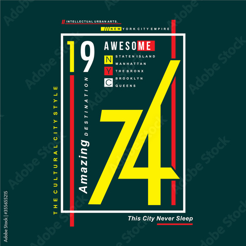 Fotografie, Tablou new york awesome this city never sleeps text frame graphic typography vector ill