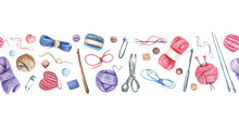Seamless Border With Watercolor Knitting Elements: Yarn, Knitting Needles And Crochet Hooks, Hand Drawn Knitting Elements Isolated On A White Background.