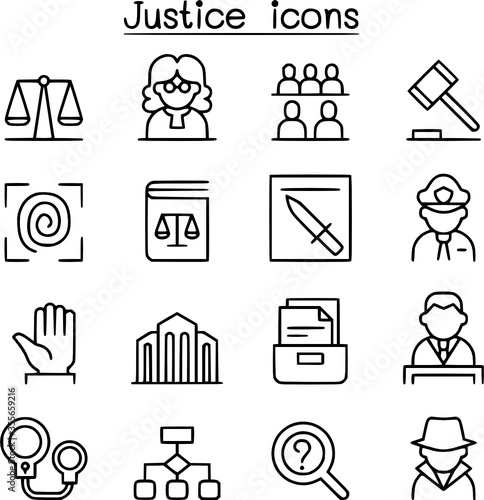 Justice law court icon set in thin line style vectorimage Canvas Print