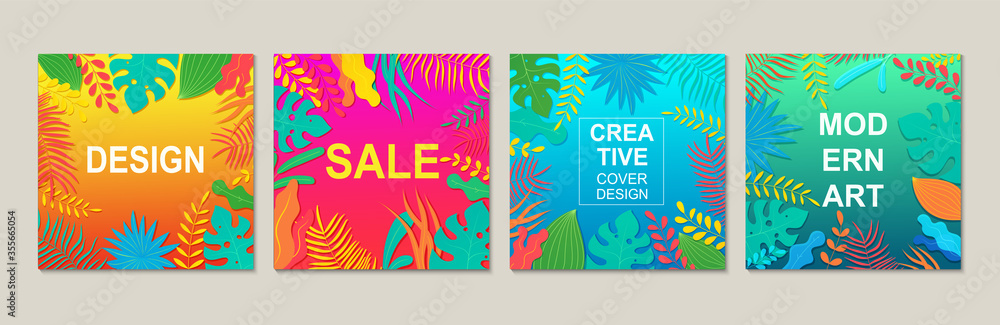Fototapeta Abstract modern square design templates with floral elements. Design trendy banner backgrounds for advertisements and posters.