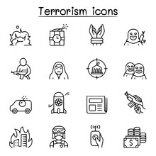 Terrorism Icon Set In Thin Lin...