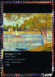 The Seine painted by Georges Seurat on postage stamp