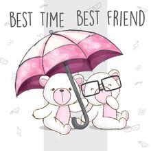 White Bear Holding Pink Umbrel...