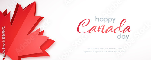 Happy Canada Day horizontal banner with red maple leaf Fototapeta