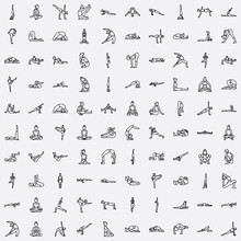 Vector Illustration Featuring A Set Of Yoga Pose 100 Icons