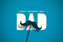 Happy Fathers Day Wishes Card In Papercut Style Design