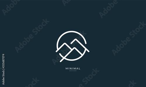 Vászonkép a line art icon logo of a Mountain