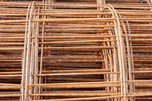 Steel Mesh Rolls That Rust For Building Structure In The Construction Site.
