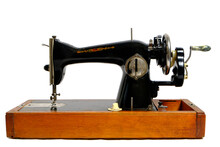 Old, Retro Vintage Sewing Machine On A White Background.
