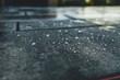 Leinwanddruck Bild - nasses Beton Pflaster mit Tropfen in einer Nahaufnahme