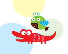 Cute Crocodile And Bird Cartoo...