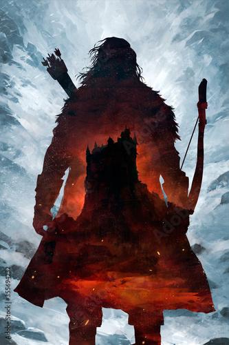 silhouette de guerrier avec un arc sur un fond de neige et un château Wallpaper Mural