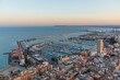 Sunset view of Spanish city and port Alicante